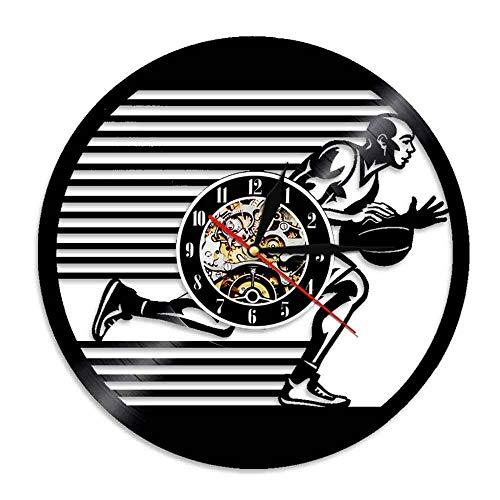 YANGSHUANG Vinyl Clock basketball player Vinyl Record Wall Clock 3D Modern Design Office Bar Room Home Decor Creative Art Wall Clock Gift, 12 inch (30 cm) in diameter