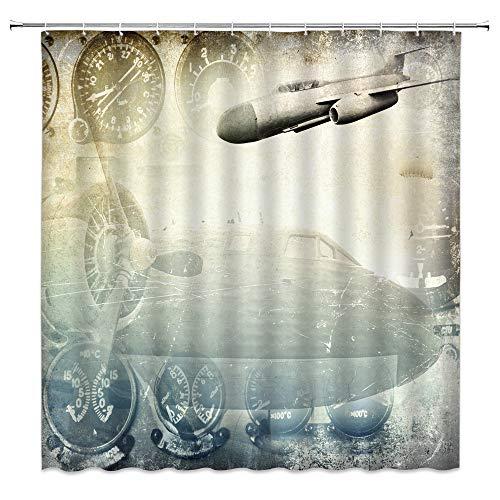 Retro Flugzeug Duschvorhang Vintage 2. Weltkrieg Armee Militär Flugzeug Luftfahrt Flugzeug Silhouetten Lancaster Bomber Jets Flugzeug Kämpfer Junge Altes Badvorhang-Set 178 x 178 cm mit Haken