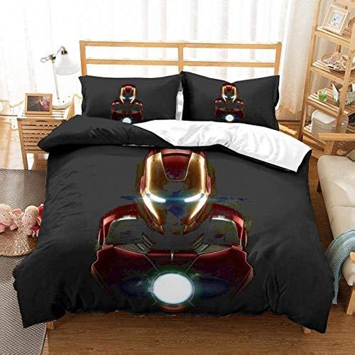 YZHY Marvel Comics Avengers - Parure da letto per bambini, copripiumino e federa, motivo Spiderman Capitan America Hulk, per adulti camera (M, 220 x 240 cm)
