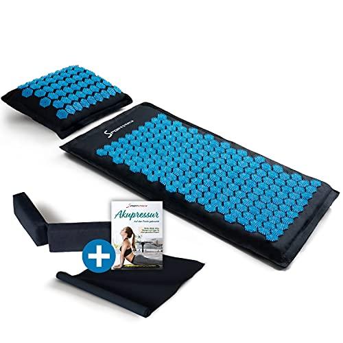 Sportstech Akupressurmatte AXM100 mit Kissen | als Nadelmatte Set und Massage Matte + Akupressur als perfektes Relax Geschenk für Frauen + Männer | wohltuende Entspannung bzw. Durchblutung