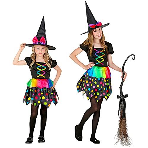 WIDMANN - Disfraz infantil de bruja de 2 piezas, vestido y sombrero, colores del arco iris, puntos, cuento de hadas, disfraz, fiesta temtica, carnaval, Halloween.