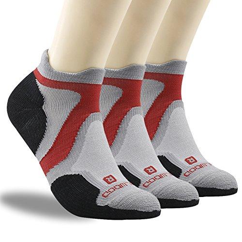 No Show Running Socks, ZEALWOOD Moisture Wicking No Show Running Socks Women and Men Cycling Athletic Golf Socks,Merino Wool Ankle Cycling Socks for Men & Women-Grey/Black,Medium