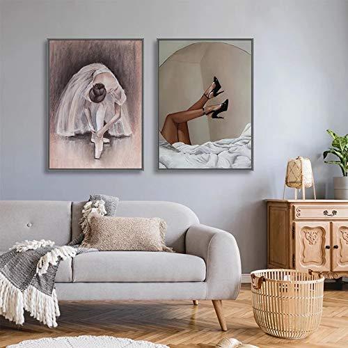 UIOLK Retro Vintage Arte Lienzo Pintura Ballet Yoga Bola Mujer Pintura al óleo Cartel nórdico Imagen para Sala de Estar decoración del hogar