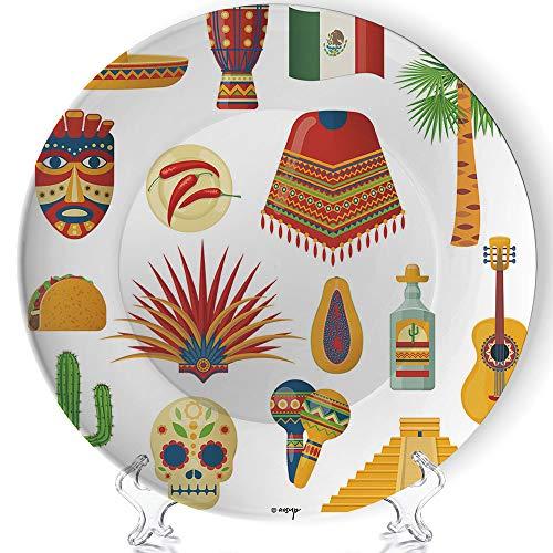 ALUONI Custom Plate, Carnival Masquerade in Mexico,Ceramic Decorative Plates, Dining Table Tabletop Home Decor 6 inch No040036