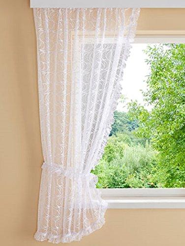 HOME WOHNIDEEN Gardinen Stores Blumenfenster 2 x Seitenschal + Raffhalter B/120 x H/245 cm Fertigardinen Dekoschal Weiß