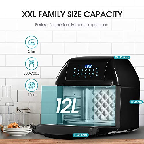 YEEYO Electric Air Fryer Rotisserie Oven, Digital Multi Air Cooker 10-in-1,12 Litre 1500W for Home Use, 10 Cooking Presets, Recipe Book & Cooker Accessories