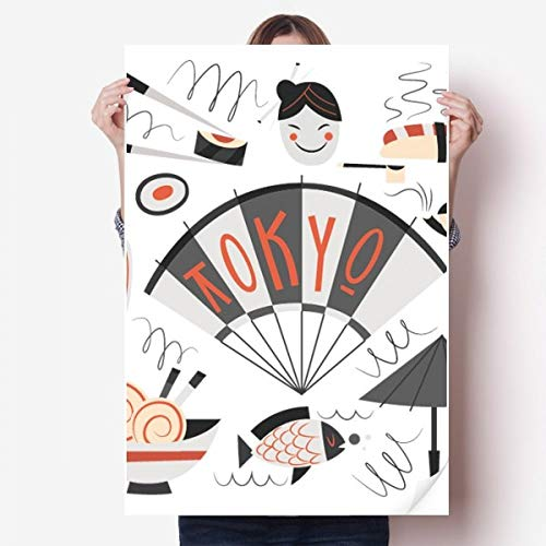 DIYthinker Sushi Geisha Japon Tokyo Japanese Vinyle Autocollant de Mur Poster Mural Wallpaper Chambre Decal 80X55Cm 80cm x 55cm Multicolor