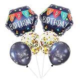 Fiestas Globos Decoracione 6 Piezas, Conjunto de Globos Helio Cumpleaños, Party Globo Confeti, Happy Birthday Globos de Aluminio, Globos Metalizado para Cumpleaños Decoracion