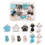 Beadthoven - 22 colgantes esmaltados con diseño de gato y pata de perro, diseño de gato y animal doméstico