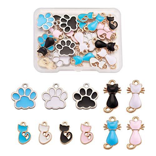 Beadthoven - 22 ciondoli smaltati a forma di zampa di gatto/cane/animale, ciondoli per bracciali, collane, orecchini e realizzazione di gioielli