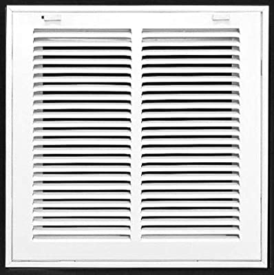 """12"""" X 12"""" Steel Return Air Filter Grille for 1"""" Filter - Removable Face/Door - HVAC Duct Cover - Flat Stamped Face -White [Outer Dimensions: 13.75w X 13.75h]"""