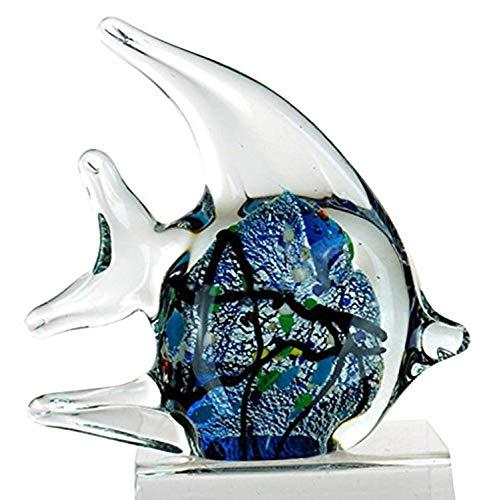 StealStreet ZBD-570 Ss-Ug-Zbd-570, 4.5' Bubble Angel Fish Glass Blown Decorative Figurine, Blue