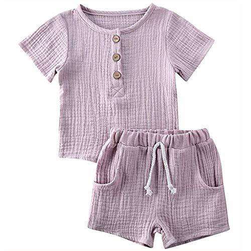 Janly Clearance Sale Conjunto de ropa para niños de 0 a 4 años, para bebés, niños, niñas, manga corta, algodón y lino elástico, camiseta+pantalones cortos, bonito regalo de Pascua, juego de ropa de bebé para 3 a 4 años (gris)