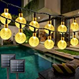2PK Solar String Lights Outdoor Waterproof, Total 100 LED 61FT Crystal Globe Lights with 8 Modes, Solar Lights Outdoor for Patio Balcony Garden Yard Porch Party (Warm White)