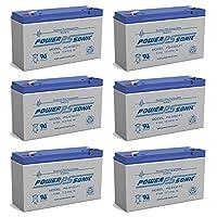 Powersonic PS-6100 6V 12AH UPS バッテリー ストリームライトライトボックス用 - 6個パック
