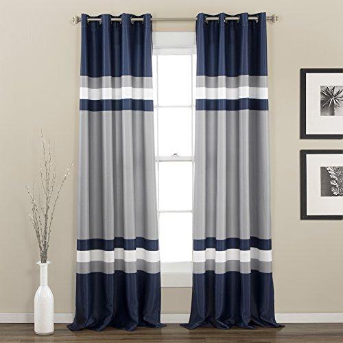 Lush Decor Alexander Curtain Panel, 84 x 52, Navy