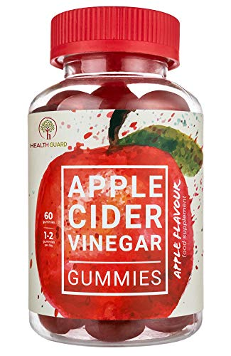 Apple Cider Vinegar Gummies – 60 Great Tasting 500mg ACV Gummies with The Mother – Unfiltered Vegan & Gluten Free – Equivalent to Capsules & Tablets – by Health Guard (1)