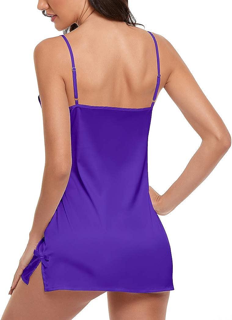 Yabeina Kail Women's Silk Lingerie Lace Chemise V Neck Nightgown Satin Babydoll Sleepwear