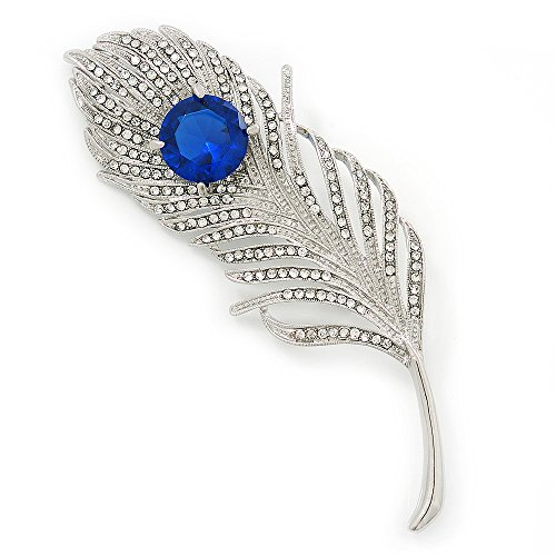 Broche grande pluma de pavo real en platinado de rodio con cristal Swarovski claro/azul zafiro