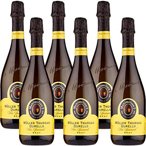 Vino Spumante Brut | Maximilian | Müller Thurgau Durello | Bollicine Italiane | Perfetto con il Sushi | 6 Bottiglie 75cl | Veneto | Idea Regalo