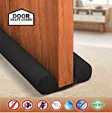 EAGLE EYE Twin Door Draft Fabric Cover Guard   Door Stopper   Cool/Hot Maintain in Room   Door Gap Sealer & Stop Unwanted Dust, Insects, Light from Door   Washable (Black, Pack of 1) Made in India