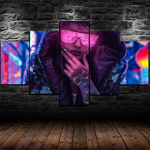 Lienzo no Tejido 5 PiezasSci Fi Cyberpunk Tattoo Girl Sudadera con capuchaArte Urbano Lienzos Cuadros Pinturas Impresión en Lienzo Diseño de la Naturaleza Innovador Regalo Enmarcado