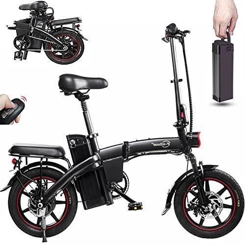 DYU Vélo Électrique Pliant,14 Pouces Smart Urban E-Bike avec 3 Modes de Conduite,Vélo Électrique Con Pédalage Assisté,Batterie Amovible,Portable Compact,Adulte Unisexe(Noir,A5)