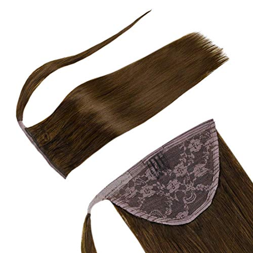 LaaVoo-Ponytail With Clip-Natural And Beautiful Wearing Effect,Geeignet Für Formelle Anlässe,Increase Hair Volume,Party Platz,#4 Dark Brown (14 Zoll 80Gramm)