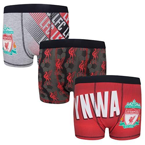 Liverpool FC - Jungen Boxershorts mit Vereinswappen - Offizielles Merchandise - Geschenk für Fußballfans - 3 Paar - 9-10 Jahre