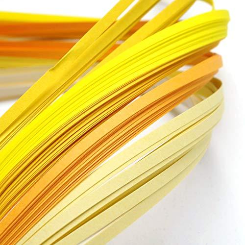 Craftdady Papierstreifen für Quilling-Papier, 390 x 3 mm, allmählich, gelb, für Bastelarbeiten, Party-Dekoration, 1200 Stück