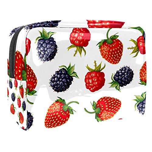 Kosmetiktasche & Schminktasche Beeren und Erdbeeren Make Up Tasche & Beautycase für Damen 18.5x7.5x13cm