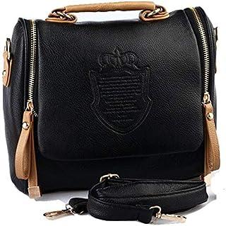 Black Women's Vintage Leather Cross body Shoulder Bag Casual Clutch Totes Messenger Evening Bag