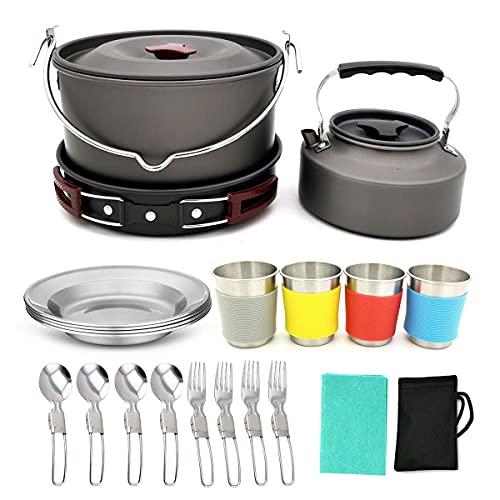 QAIYXM 22 Kit de Utensilios de Cocina para Acampar con Ollas Camping y Sartén en Aluminio Anodizado, Cuchara Plegable, Set Cocina Camping para Excursión, Senderismo (Color : B)