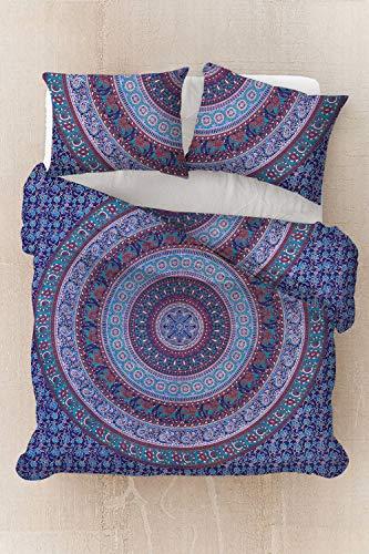Sophia-Art Housse de couette indienne faite à la main en coton imprimé ethnique, bohème, mandala, ombre avec 2 taies d'oreiller, Coton, Motif éléphant Bleu, Twin 52*74 Inches
