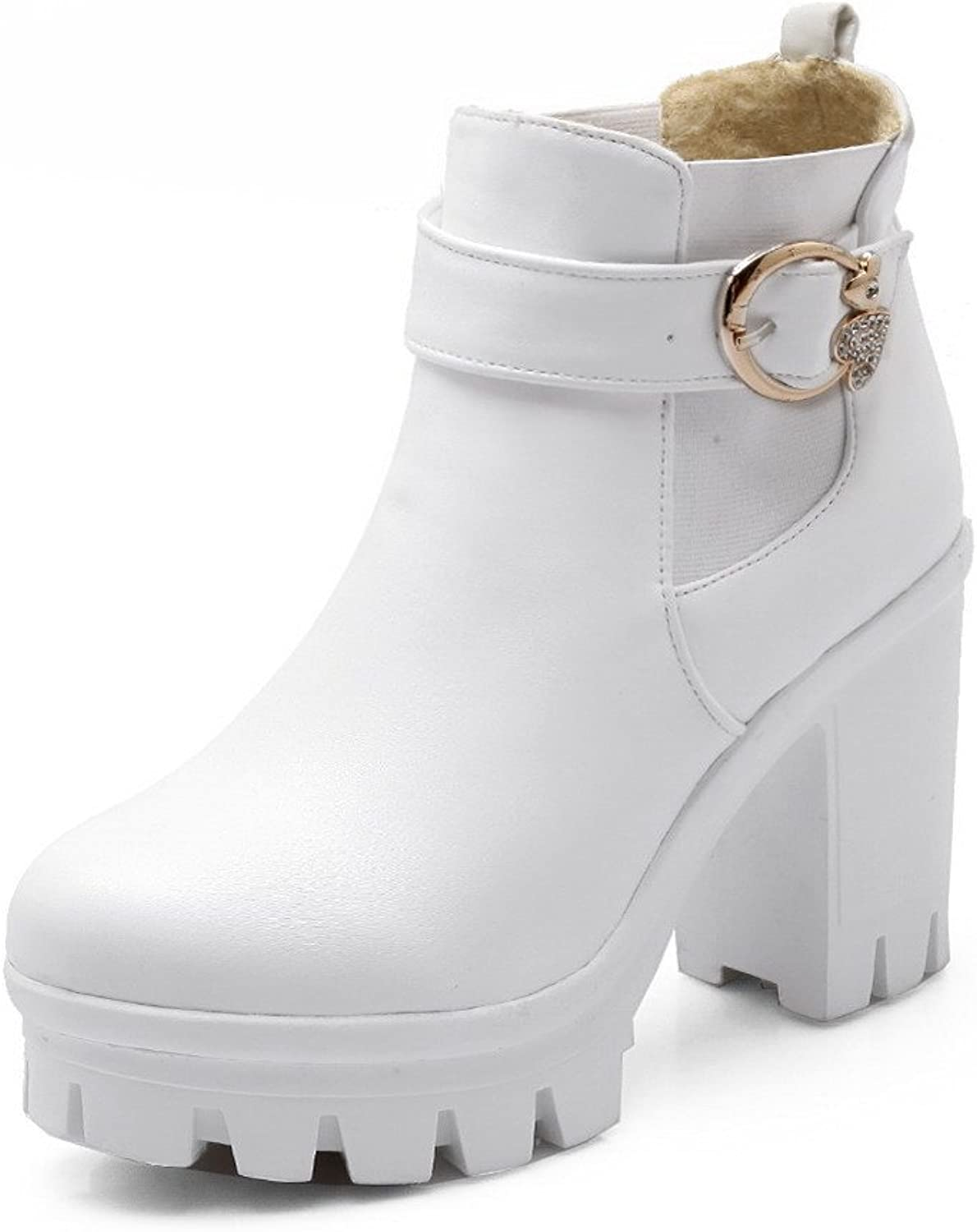 AllhqFashion Women's PU Ankle-high Solid Pull-On High-Heels Boots