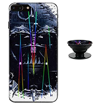 Star Wars Darth Vader Case for iPhone 8 Plus 7 Plus Protective Case Aurora Color Soft TPU Compatible iPhone 8 Plus Cover with Phone Holder Bracket(7/8Plus)