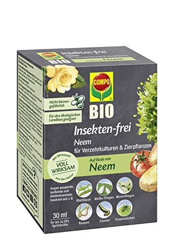 Compo Bio Insekten-frei Neem, Bekämpfung von Schädlingen (u.a. Buchsbaumzünsler) an Zierpflanzen, Kartoffeln, Gemüse und Kräutern, 30 ml, 120 m²