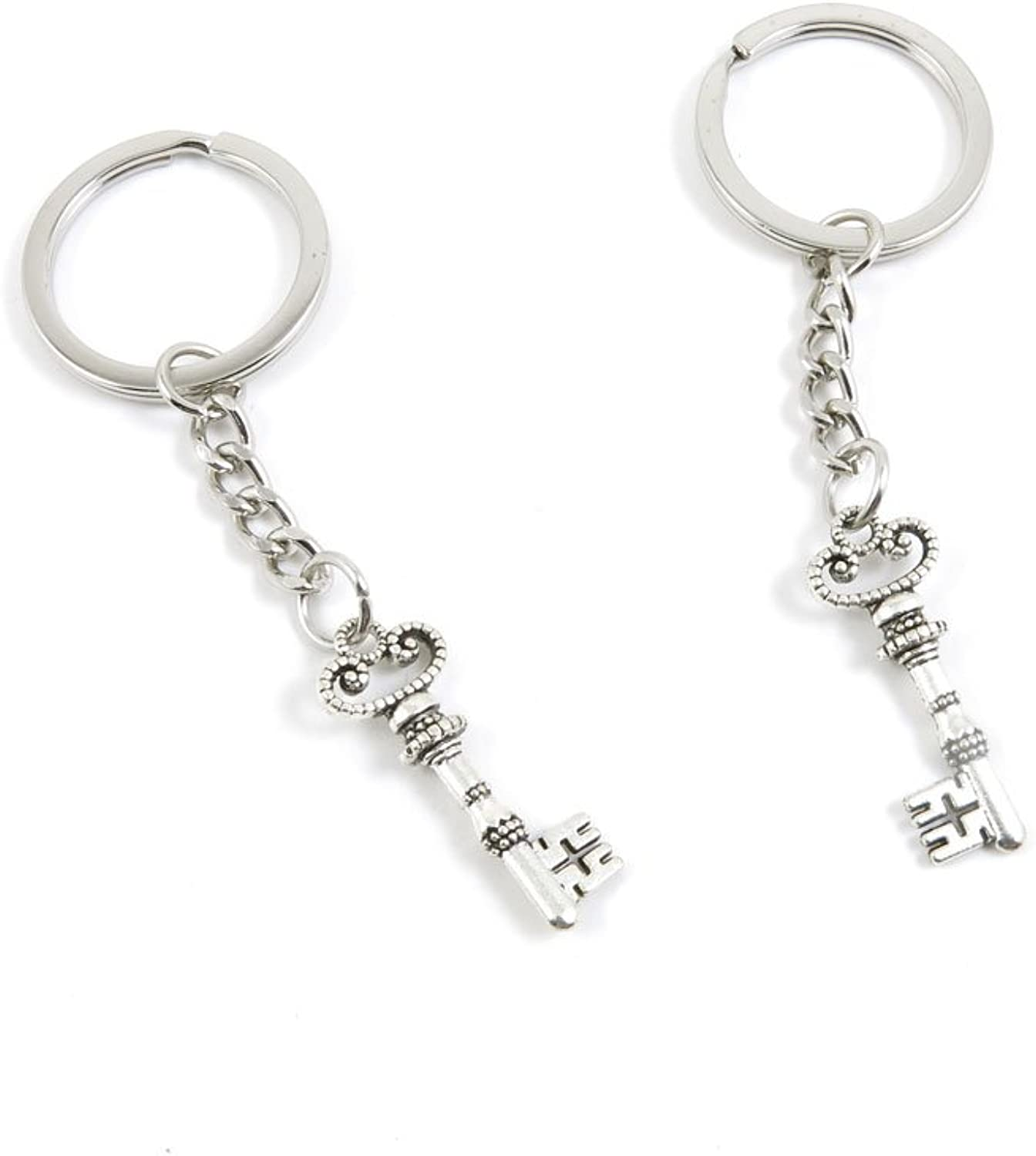 100 Pieces Keychain Keyring Door Car Key Chain Ring Tag Charms Bulk Supply Jewelry Making Clasp Findings D2XW4Z Magic Skeleton Key