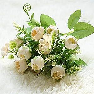Fake Plants Artificial Magnolia Flowers, DIY Tea Rose Silk Flower White Bridal Bouquet for Home Wedding Fake Flowers Decoration Fake Flower (Color : Champagne)