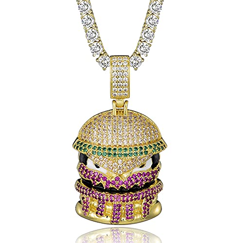 Hip Hop Bling Hamburger Iced Out Bling Cubic Cubic Halskette und Anhänger Für Männer Schmuck Mit Mobile Tennis Kette-Gold_6mm Cuban Chain_Stany 24inch (61cm)