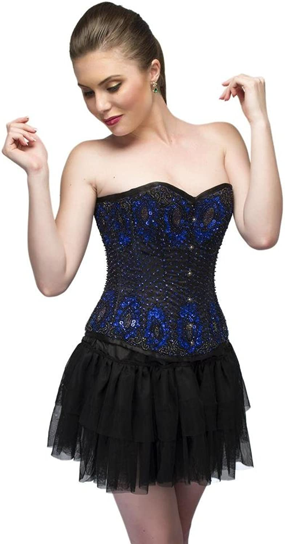 bluee Satin Black Sequins Goth Burlesque Overbust Bustier Tutu Skirt Corset Dress
