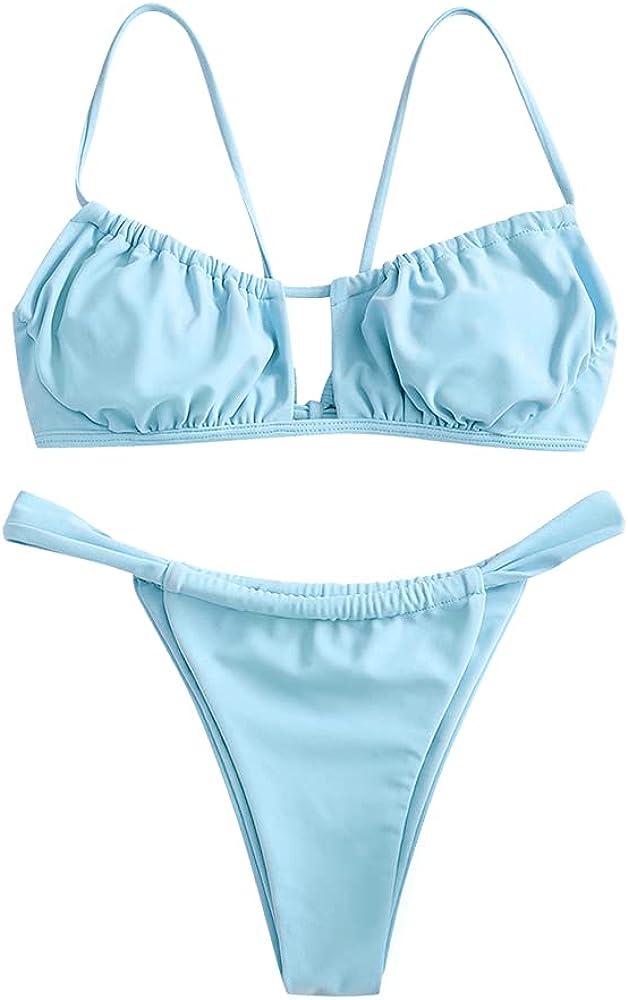 ZAFUL Women's Spaghetti Strap Cutout Keyhole Ruched Tie Cami Bikini Set Swimsuit