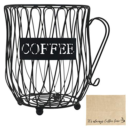 Coffee Pod Holder Capsule Organizer - Coffee Mug Wire Storage Basket Large Capacity Espresso Pod Holder Coffee K Cup Keeper with Burlap Placemat for Coffee Counter