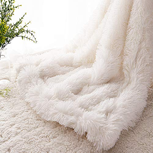 """EMME Faux Fur Blanket Fuzzy Soft and Plush Shaggy Fall Throw Blankets for Bed Long Fur Solid Reversible Warm Cozy Luxurious Fluffy Blanket for Sofa, Couch as Gift Home Decor (White, 50""""x60"""")"""