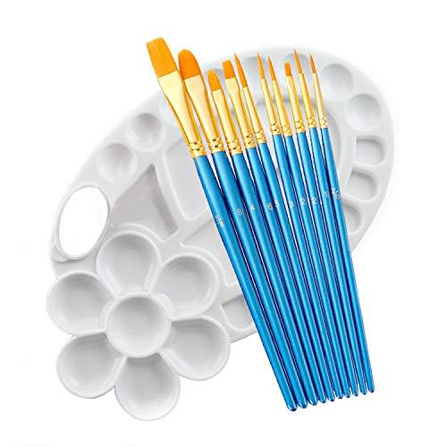 Paint Brush Set 11pcs with Palette Round Pointed Tip Nylon Hair Artist...