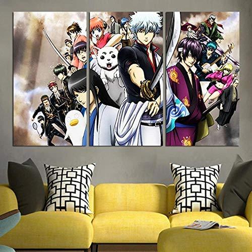 Impresión Hd Lienzo De Pintura Moderno Hd Modular 3 Piezas Impreso Pintura Sala De Estar Decoración Del Hogar Póster Cuadro Lienzo Regalo Creativo 50Cmx70Cmx3(Marco) Personajes De Anime Gintama