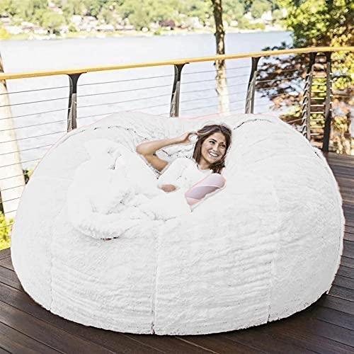 Bolsa de frijoles Cubierta de silla, muebles de sala de estar grande redondo suave suave (solo cubierta, sin relleno) Fausa de piel de imitación Bobina Lazy Sofá cubierta de cama 183cm Cubierta de bol