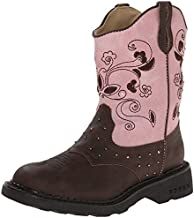 Roper Saddle Light Round Toe Cowgirl Boot (Toddler/Little Kid), Brown, 7 M US Toddler