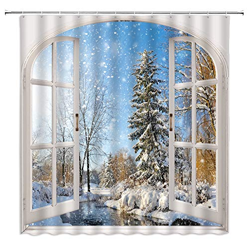 Jingjiji Winter Shower Curtain Snow Scene Snowflake Frozen World Forest Tree Pine Natural Scenery Wooden Window Bathroom Decoration Curtains Polyester Fabric with Hook (Blue, 70 X 70 Inch)