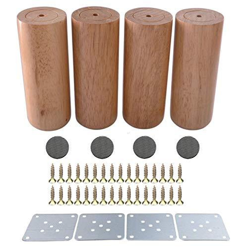 Pies de Muebles 6x10cm Redonda Material Sofá Cama Silla Armario Mesa de té Mueble de televisión Patas de los Muebles de Madera Pies Pack de 4 Mueble